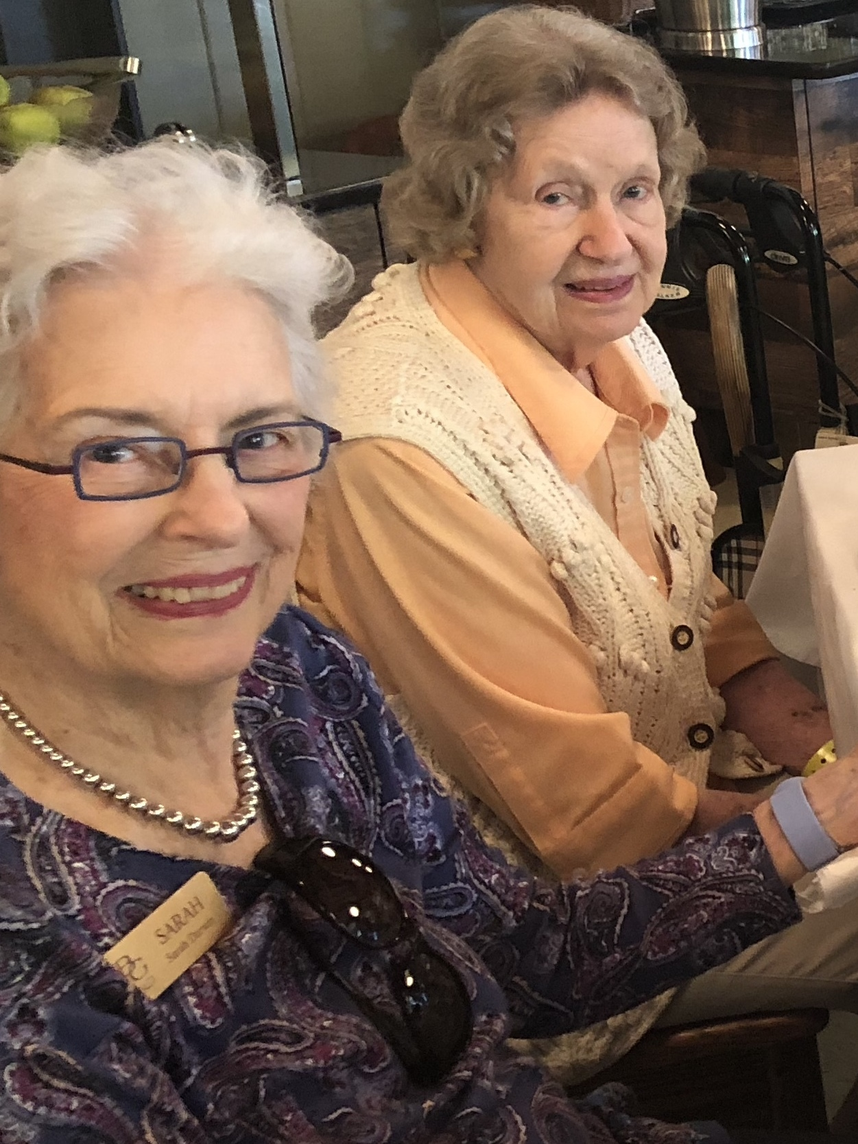 Joyce East (right) with fellow Bishop Gadsden resident Sarah Darwin during their evacuation from their community on the South Carolina coast in September 2018.