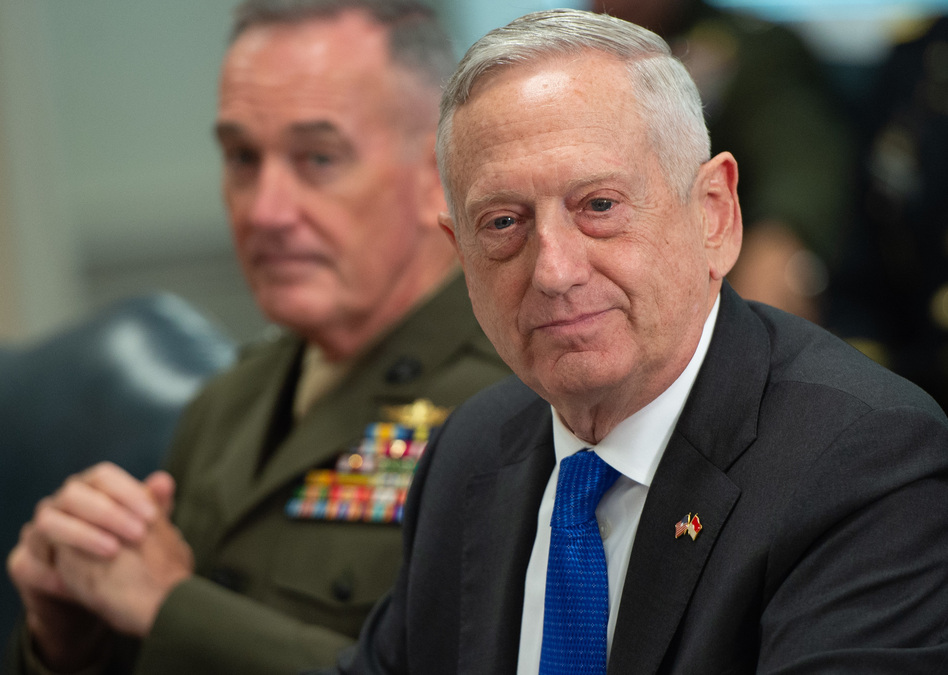 Defense Secretary Jim Mattis, pictured in August during a meeting at the Pentagon, will step down from his position on Feb. 28. (Saul Loeb/AFP/Getty Images)