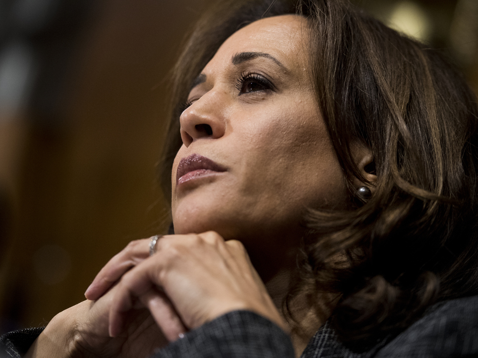 Sen. Kamala Harris, D-Calif., listens to testimony at a Senate Judiciary Committee hearing in September. Harris, along with Sens. Cory Booker, D-N.J., and Tim Scott, R-S.C., proposed the anti-lynching bill passed by the Senate on Wednesday. (Tom Williams/Pool/Getty Images)