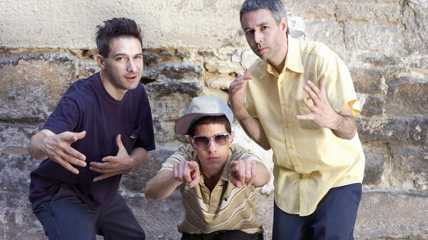 """The Beastie Boys, from left, """"Ad-Rock"""" (Adam Horovitz), """"Mike D"""" (Michael Diamond) and """"MCA"""" (Adam Yauch) pose in Paris in 2004."""