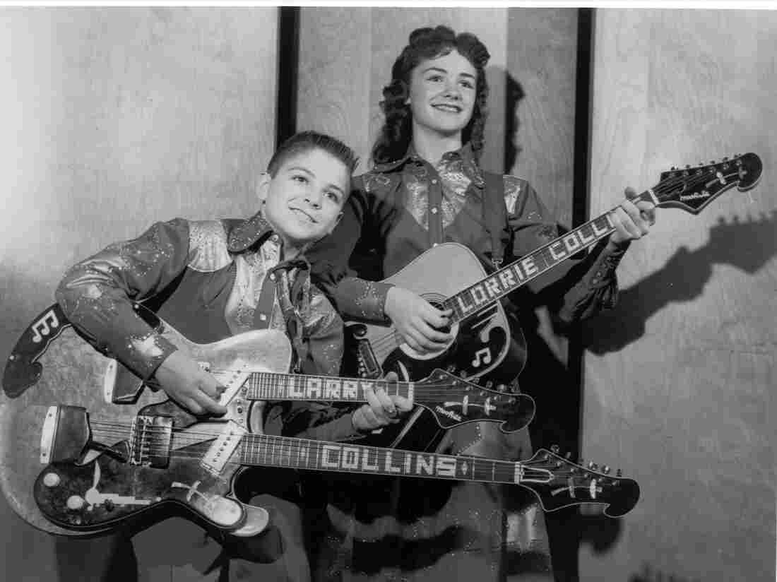 Lorrie Collins poses with her brother Larry as The Collins Kids.