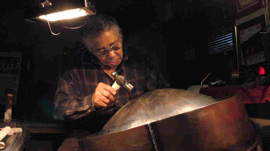 Ellie Mannette crafts a drum at his workshop in West Virginia in 2006.