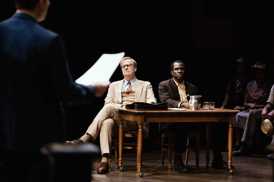 The new Broadway adaptation of <em>To Kill a Mockingbird </em>features Jeff Daniels as Atticus Finch and Gbenga Akinnagbe as Tom Robinson. (Julieta Cervantes)