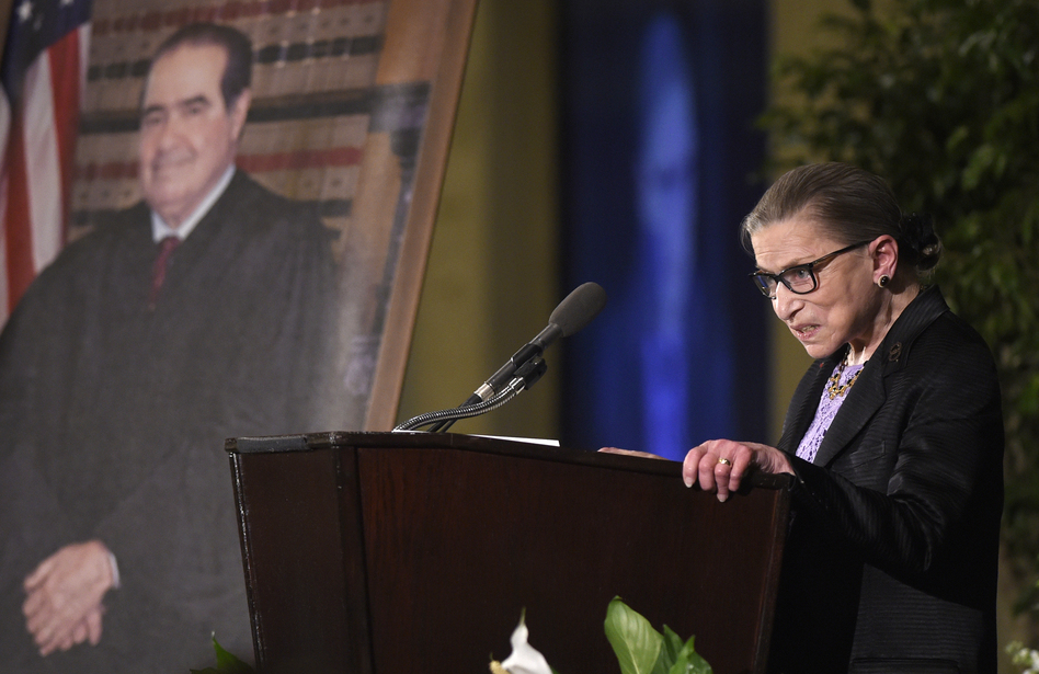 Ginsburg speaks at a memorial service for Supreme Court Justice Antonin Scalia at the Mayflower Hotel in Washington in March 2016.