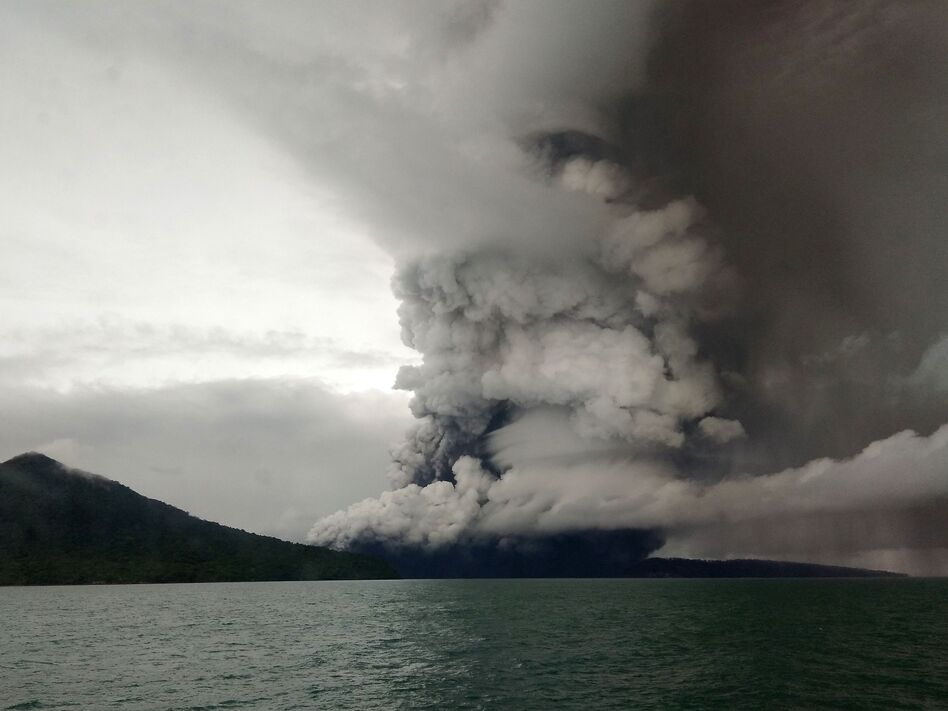 Anak (Child) Krakatau volcano erupts, as seen from a ship on the Sunda Straits, Indonesia, on Thursday. (AFP/Getty Images)