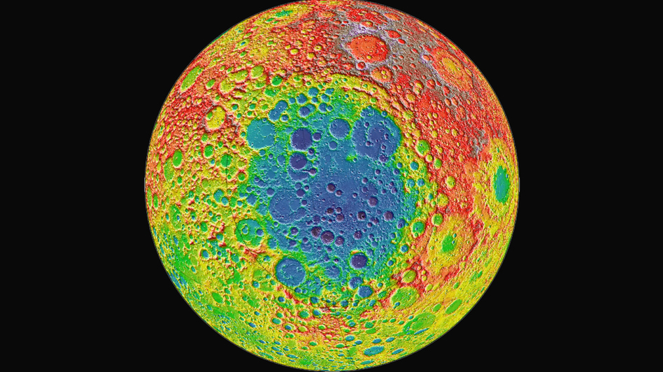 """The Chinese lunar lander <a href=""""https://nssdc.gsfc.nasa.gov/planetary/lunar/cnsa_moon_future.html"""">Chang'e 4</a> is headed to Aitken Basin, a large impact crater near the moon's south pole, pictured here in blue. The distance from the depths of Aitken Basin to the tops of the highest surrounding peaks is nearly twice the height of Mount Everest, according to NASA. (NASA/Goddard)"""