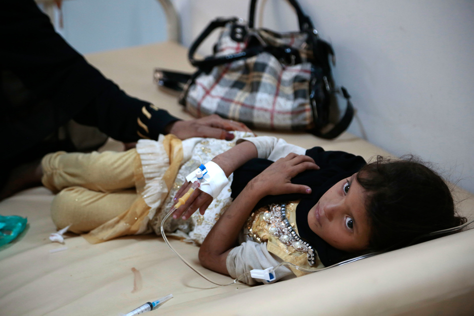 A girl is treated for suspected cholera infection at a hospital in Sanaa, Yemen. There were more than 1 million cases of cholera in the country between April 2017 and April 2018. (Hani Mohammed/AP)