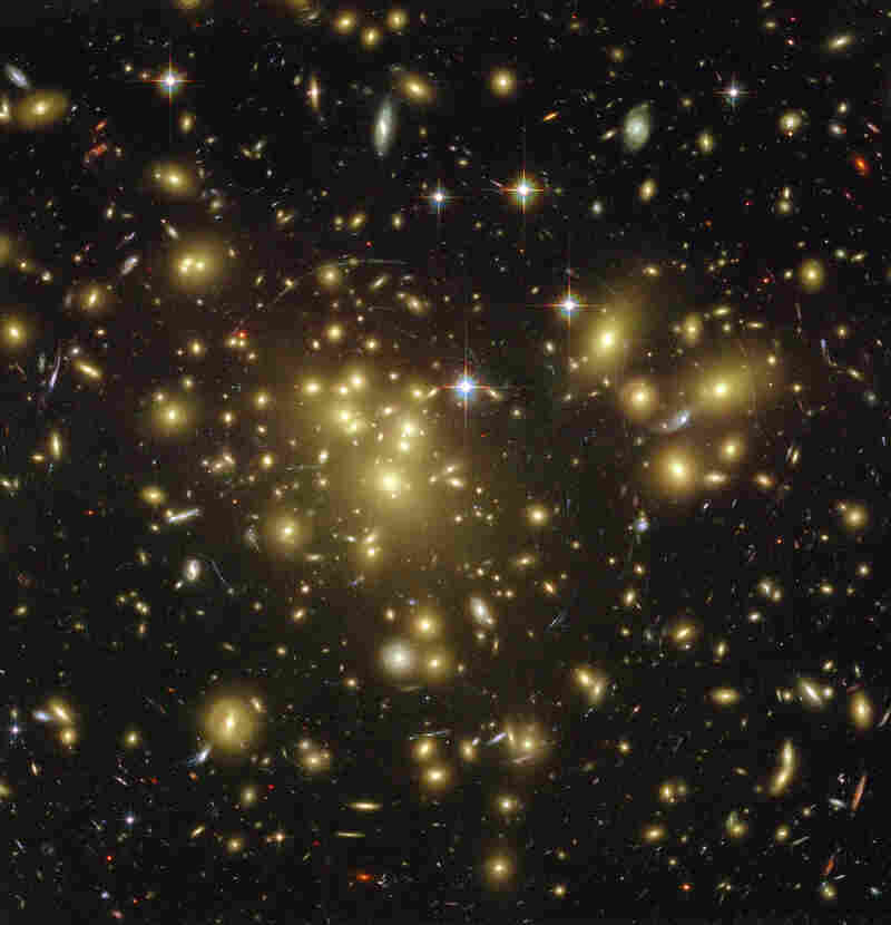 This deep-space image, taken on Jan. 7, 2003, shows galaxies that are 13 billion light-years away.