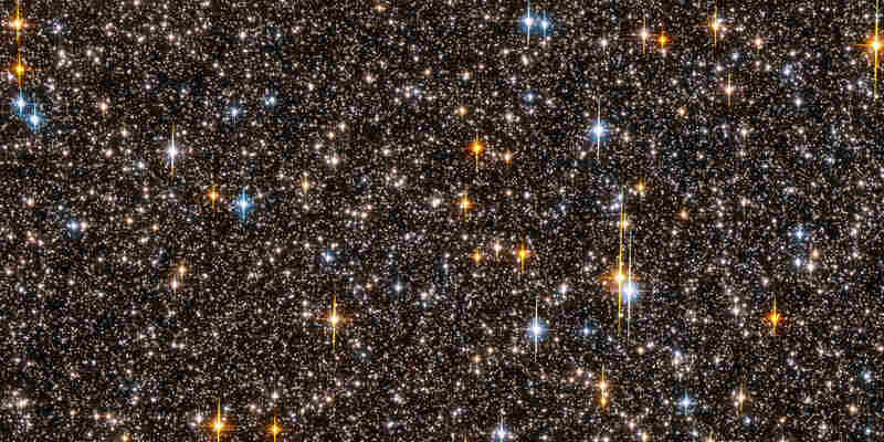 This photo, published October 4, 2006, shows one half of the Hubble Space Telescope's field of view.