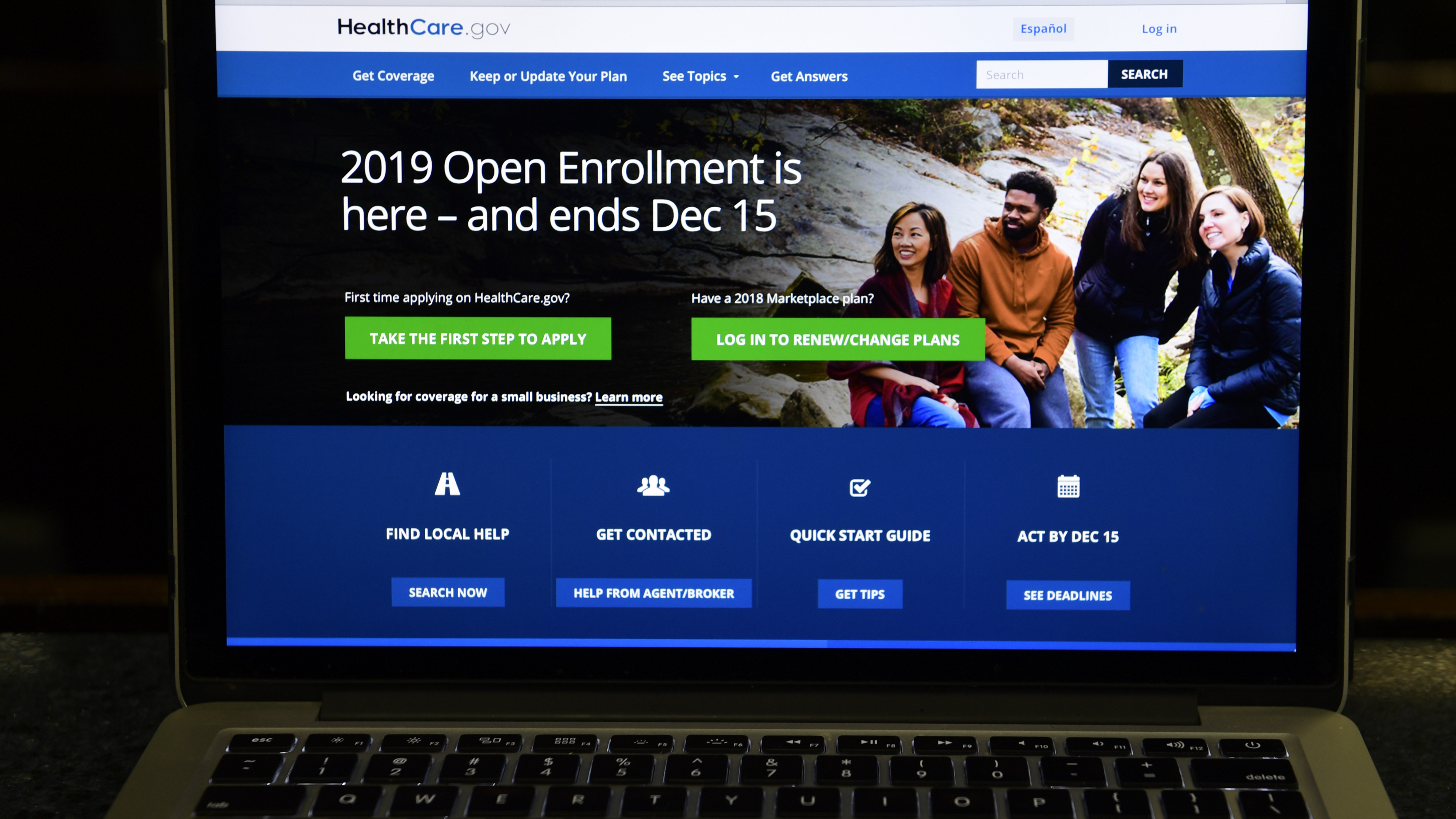 The federal website where consumers can sign up for health insurance under the Affordable Care Act is shown on a computer screen in Washington, D.C., last month. The federal judge in Texas, who earlier this month ruled the Affordable Care Act unconstitutional, said that the law can remain in effect while under appeal.