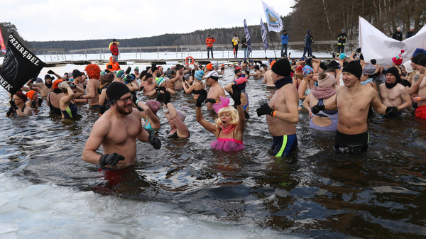Winter swimmers enjoyed an icy dip in Poland