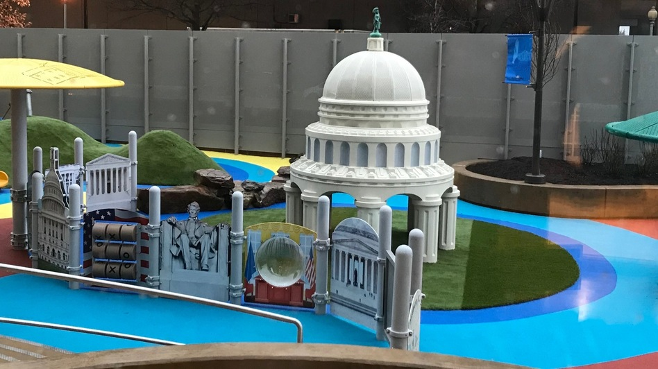 The playground of the new day care facility for staff and lawmakers in the House of Representatives evokes the skyline and the many monuments of official Washington. (Architect of the Capitol's Office)