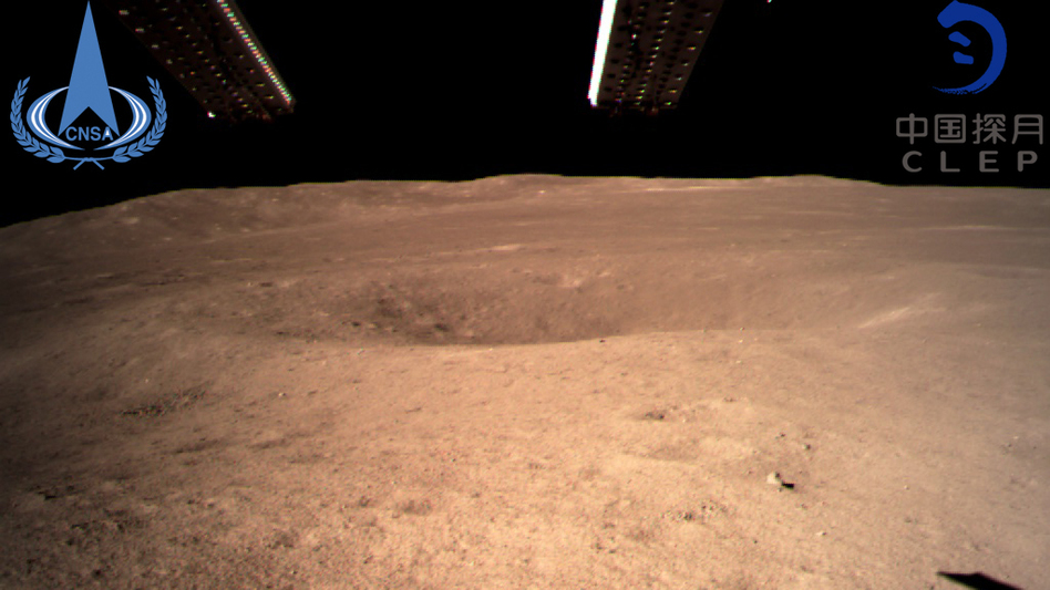 This photo, provided by China National Space Administration via Xinhua News Agency, is the first image of the moon's far side ever taken from the surface. A Chinese spacecraft on Thursday made the first landing on the far side of the moon, state media said. (Imaginechina via AP)
