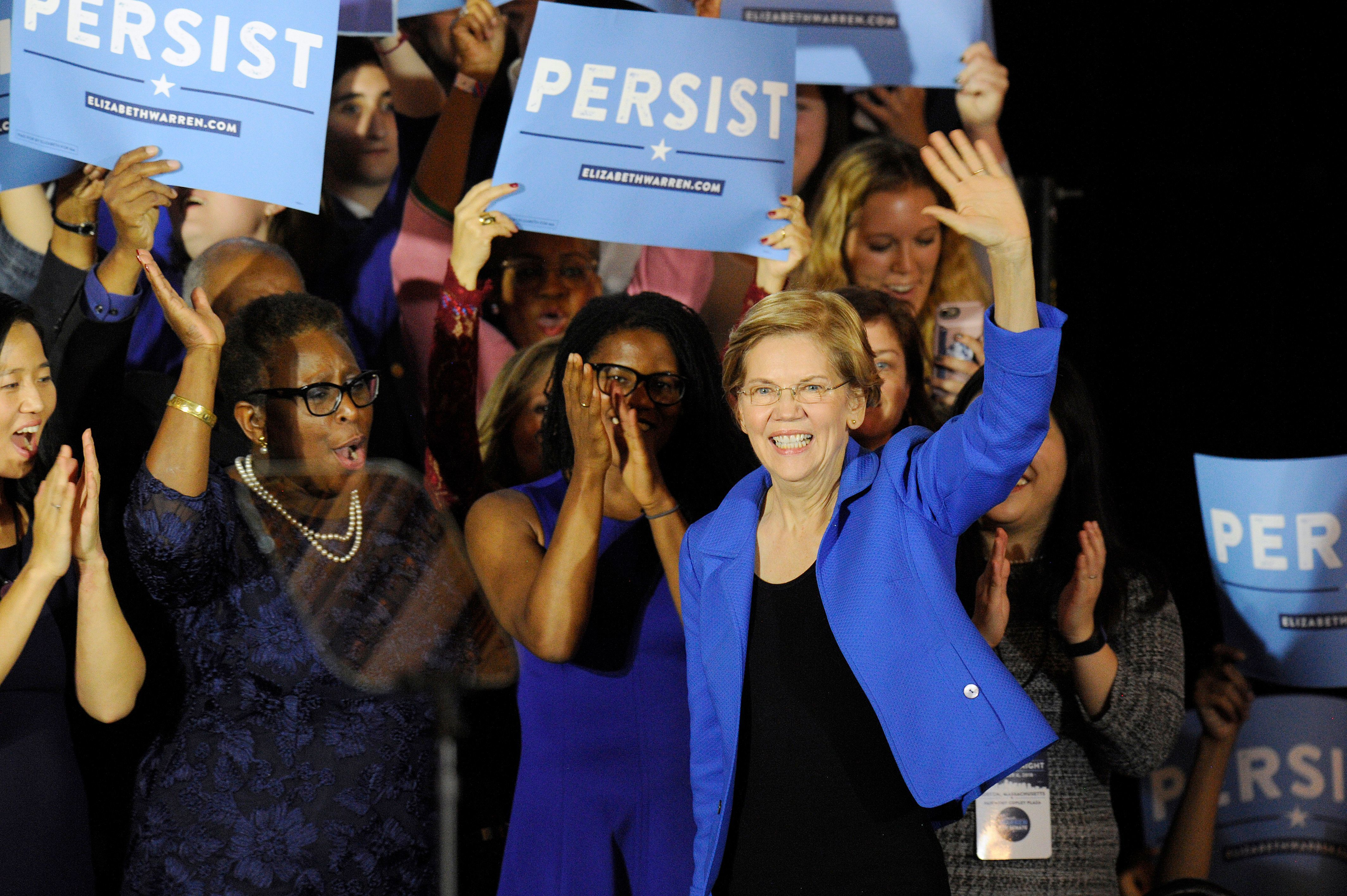 Sen. Elizabeth Warren of Massachusetts addresses the audience on Election Day in November 2018.