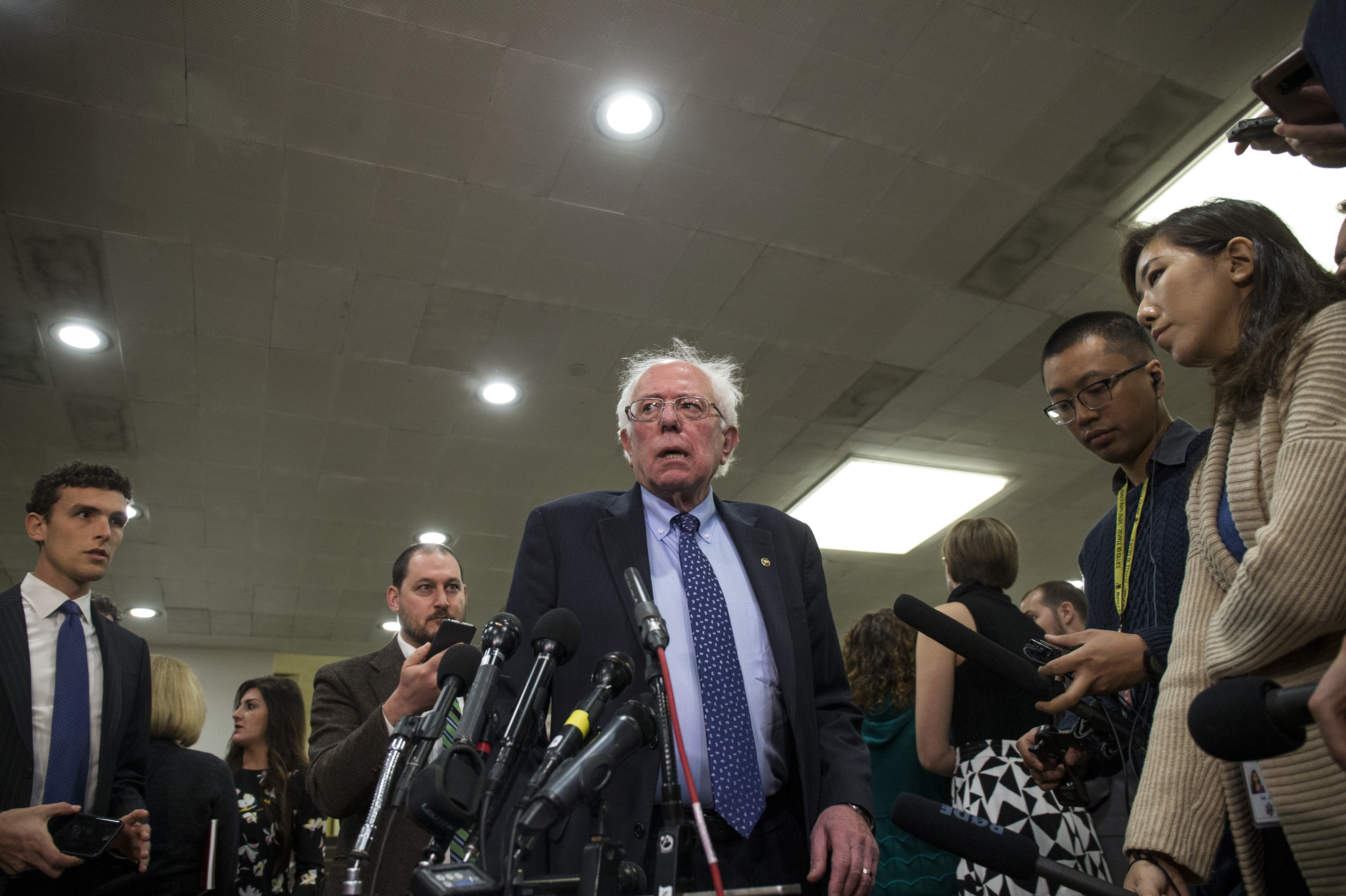 Sen. Bernie Sanders of Vermont speaks to the press in November. Sanders hasn't officially decided on another presidential run — yet.