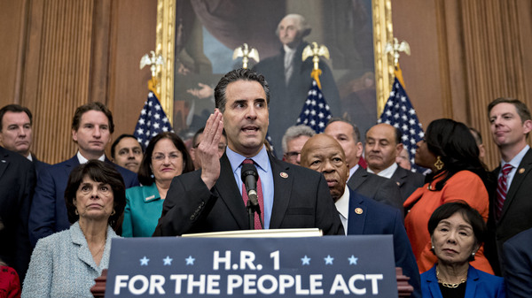 Rep. John Sarbanes, D-Md., speaks during a news conference to unveil House Democrats' anti-corruption bill, the For the People Act, at the U.S. Capitol on Friday.