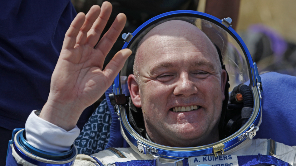 Astronaut André Kuipers, pictured here after a landing in 2012, accidentally dialed 911 from the International Space Station.
