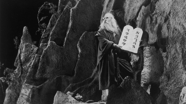 American actor Theodore Roberts as Moses in Cecil B. DeMille's silent version of The Ten Commandments — one of many works from 1923 that entered the public domain on Jan. 1.