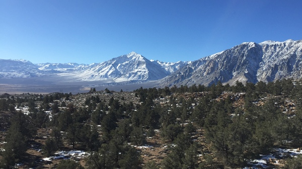 The Eastern Sierra mountains near Mammoth Lakes, Calif. The town is surrounded by U.S. Forest Service and Bureau of Land Management land and, with the government shutdown,