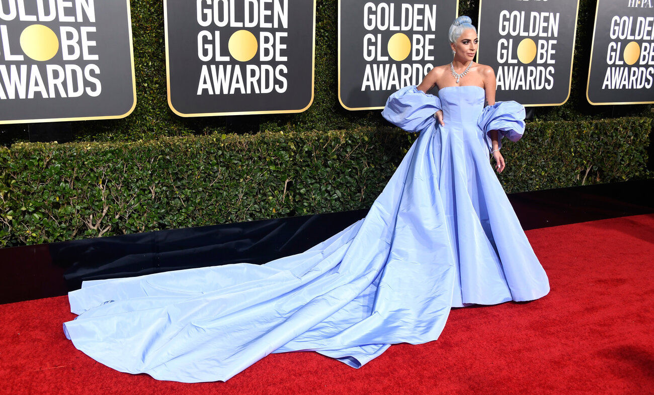 Lady Gaga in her ice blue Classic Hollywood dress