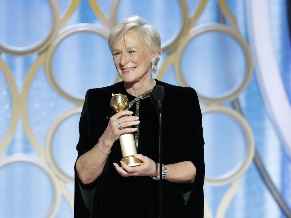 Glenn Close accepts the best actress in a motion picture – drama award for her role in <em>The Wife</em> during the 76th Golden Globe Awards. (Handout/NBCUniversal via Getty Images)