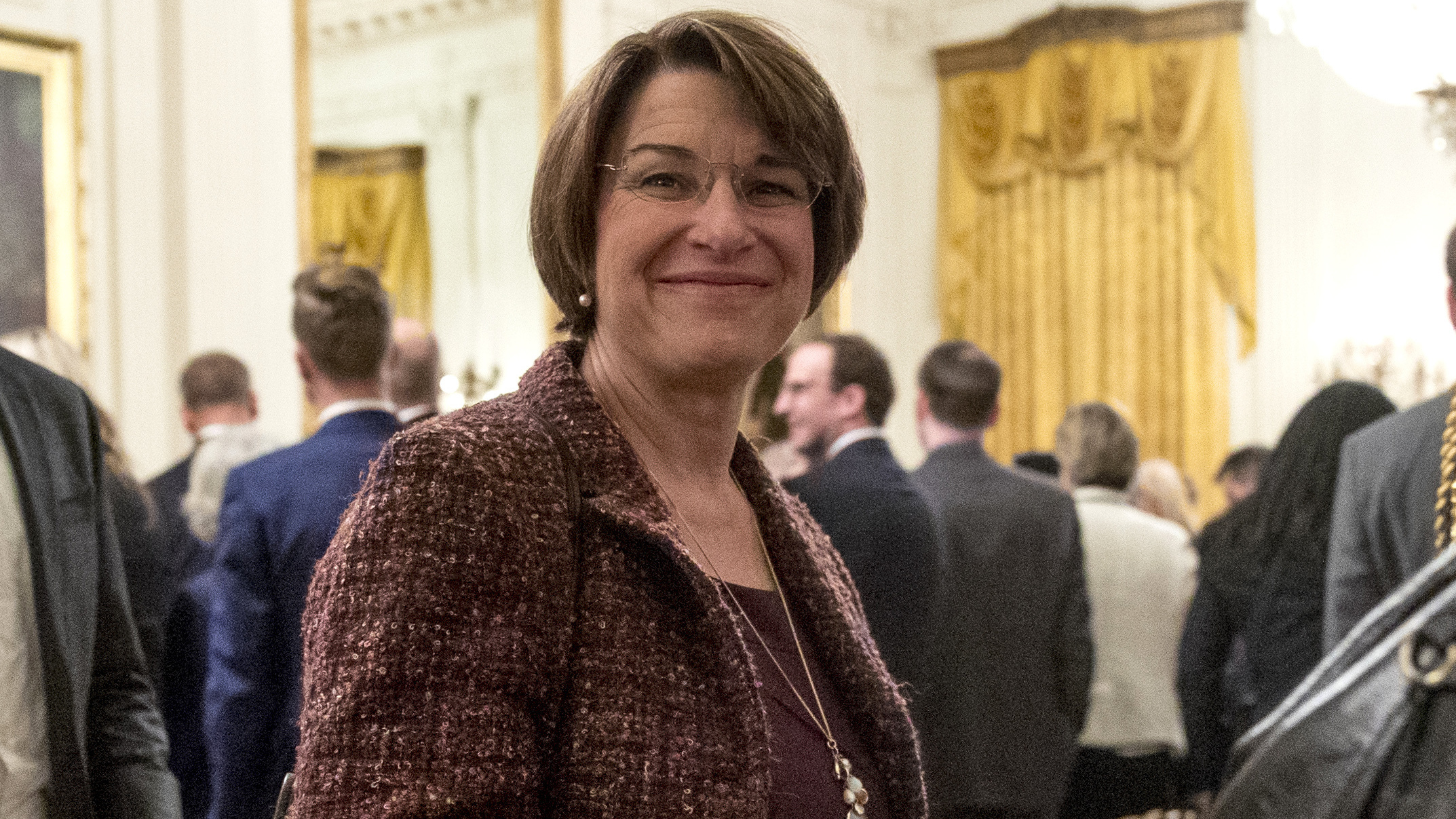 Sen. Amy Klobuchar D-Minn. departs following a Medal of Freedom ceremony in the East Room of the White House. Andrew Harnik  AP