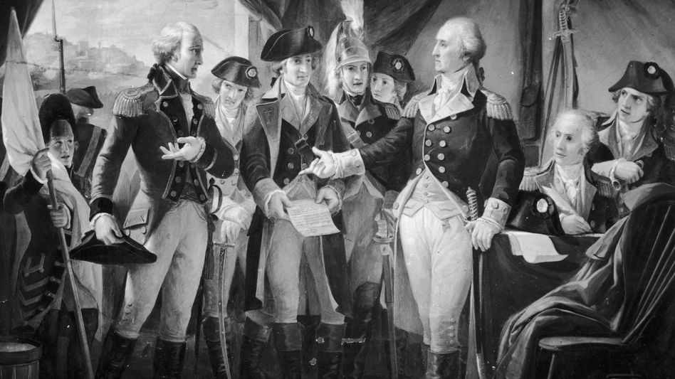 October 1789: American Gen. George Washington declining to accept terms, after the siege of Yorktown, from British Gen. Charles Cornwallis (left), whose subsequent surrender practically ended the American War of Independence.
