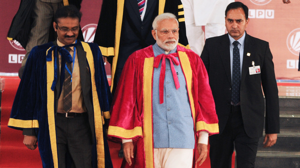 Prime Minister Narendra Modi (center) attends the opening of the 106th Indian Science Congress at Lovely Professional University on last week in Jalandhar, India.