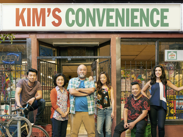 The main cast of Kim's Convenience (from left): Simu Liu (Jung), Jean Yoon (Umma), Paul Sun-Hyung Lee (Appa), Andrea Bang (Janet), Andrew Phung (Kimchi), Nicole Power (Shannon Ross). Season 3 debuted on the CBC on Tuesday.