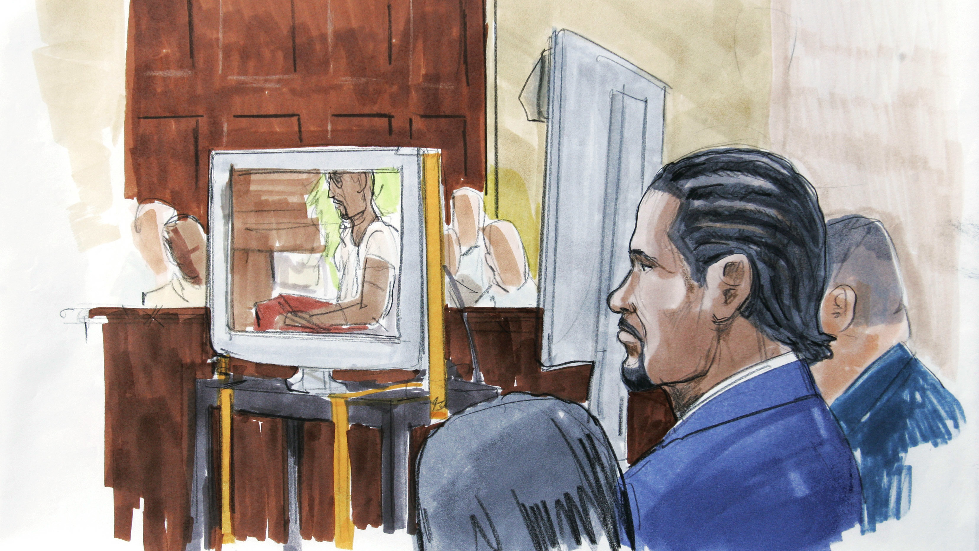 9f85a42dfe4e An artist s rendering shows R. Kelly watching in court as prosecutors play  the sex tape at the center of his 2008 child pornography trial in Chicago