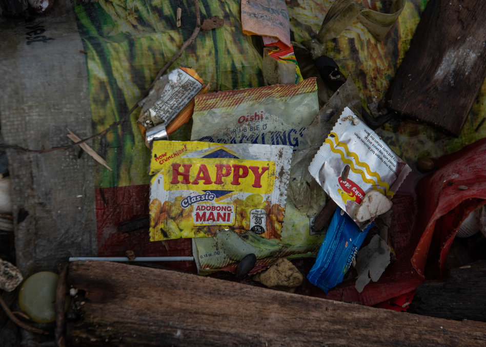 Sachets like these, developed to market consumer goods to the poor, have become ubiquitous all over Asia. (Jes Aznar for NPR)