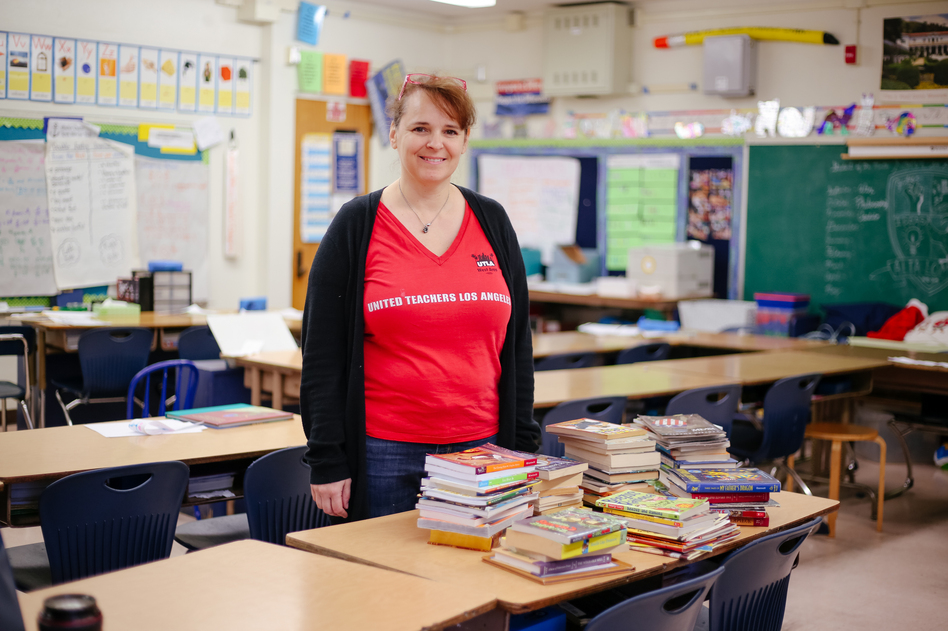 Alta Loma Elementary School teacher Jennifer Liebe-Zelazny is ready to strike if there's no deal come Monday, but she knows it will come at a cost to her fourth-grade students. (Roxanne Turpen for NPR)