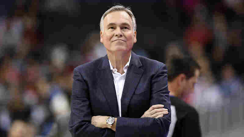 Houston Rockets head coach Mike D'Antoni stands on the court during the first half of an NBA game against the Washington Wizards, on Nov. 26, 2018, in Washington, D.C.