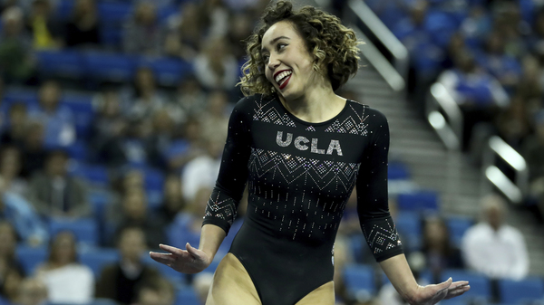 Katelyn Ohashi of UCLA during an NCAA college gymnastics match on Jan. 4 in Los Angeles.