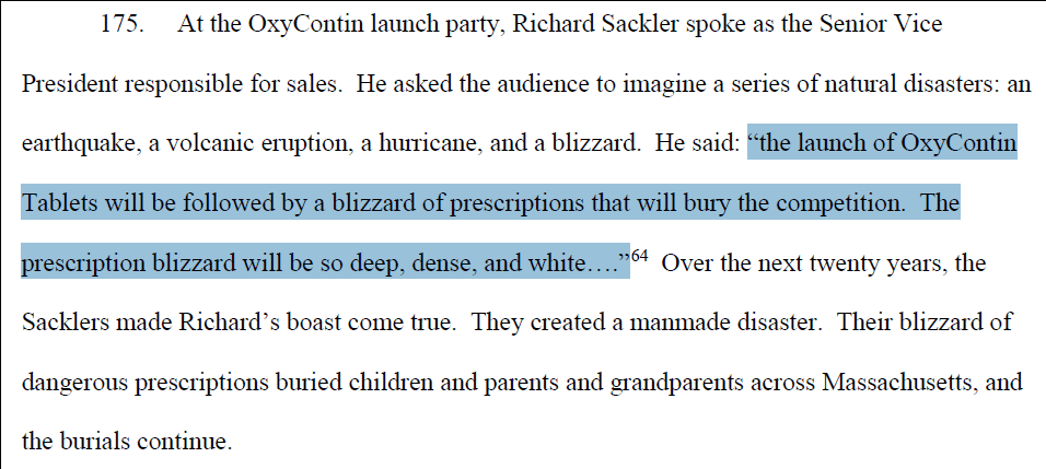 An excerpt from Massachusetts Attorney General Maura Healey's memorandum that alleges the Sackler family was deeply involved in sales and marketing of OxyContin.