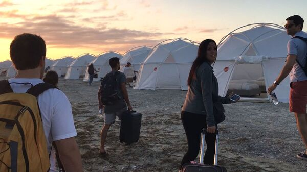 Festival attendees wound up dragging their luggage to tents — and that