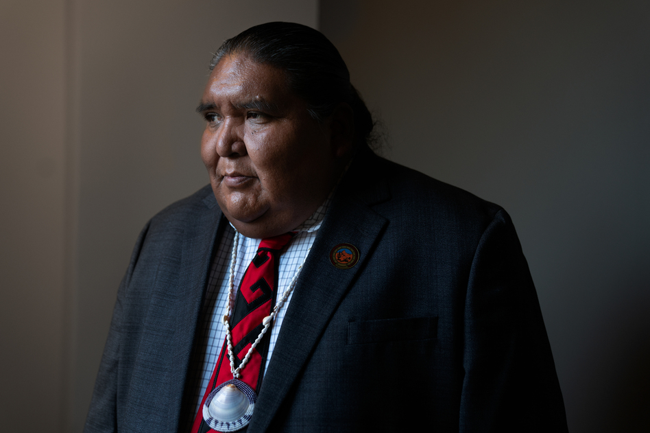 Verlon Jose, vice chairman of the Tohono O'odham Nation, says President Trump's proposed wall would devastate his community. (Claire Harbage/NPR)