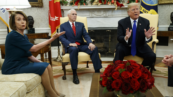 Vice President Pence looks on as now-House Speaker Nancy Pelosi, D-Calif., argues with President Trump during a meeting in the Oval Office last month.