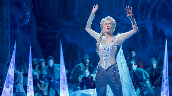 Caissie Levy performs as Elsa in the stage adaptation of Frozen, which opened on Broadway in 2018.