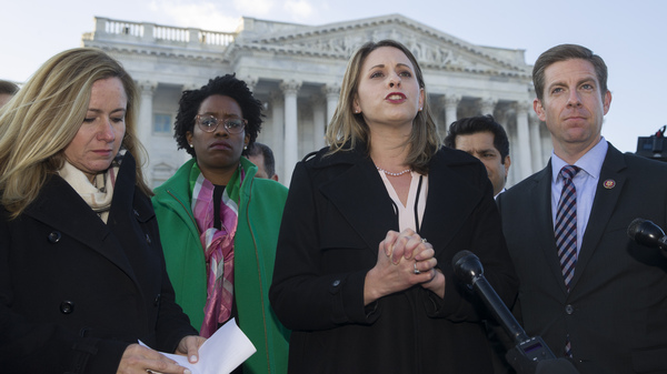 Rep. Debbie Mucarsel-Powell, D-Fla. (from left); Rep. Lauren Underwood, D-Ill.; Rep. Katie Hill, D-Calif.; Rep. Mike Levin, D-Calif., and other freshman members of the House of Representatives speak about the government shutdown in front of the U.S. Senate on Tuesday.