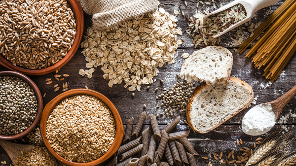 Slow carbs like whole-grain breads and pastas, oats and brown rice are rich in fiber and take more time to digest, so they don