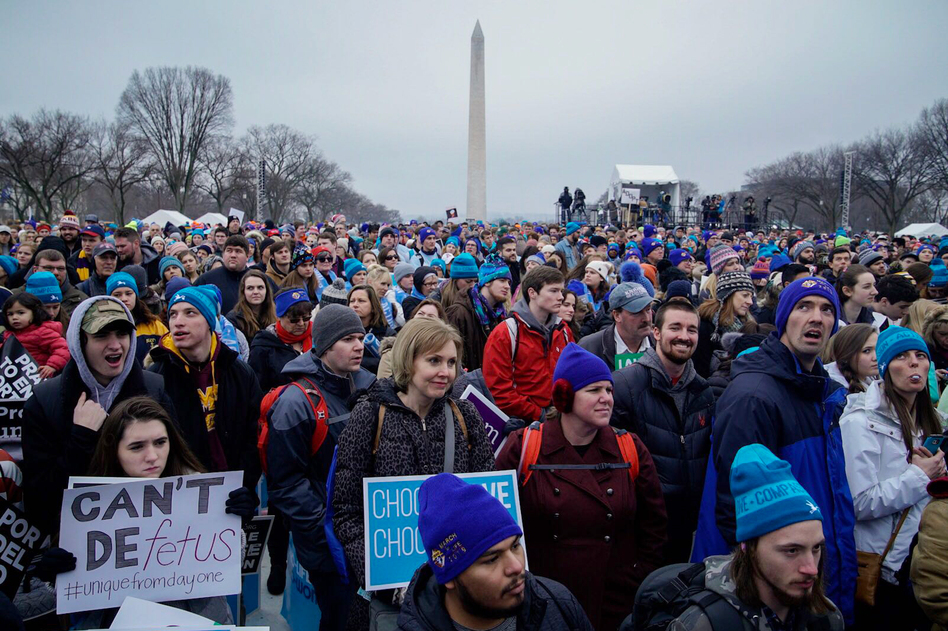 People gather on the National Mall in Washington, D.C. for the annual anti-abortion rights March For Life. (Amr Alfiky/NPR)