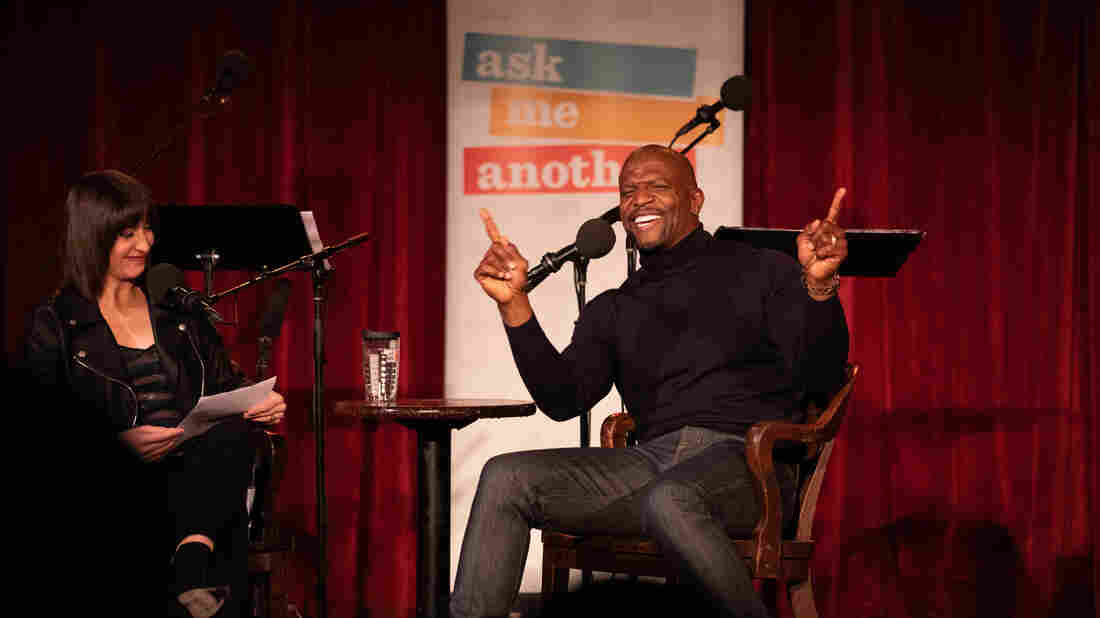 Host Ophira Eisenberg chats with Terry Crews on Ask Me Another at the Bell House in Brooklyn, New York.