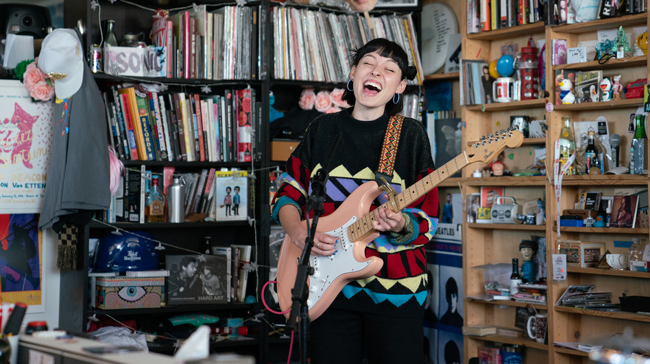Stella Donnelly performs a Tiny Desk Concert on Oct. 22, 2018. (Cameron Pollack/NPR/Cameron Pollack/NPR)