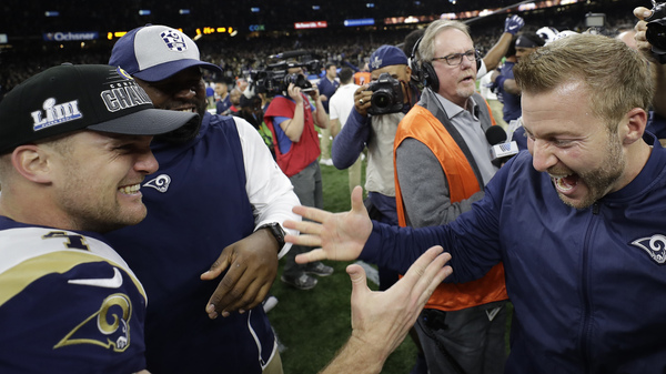 Los Angeles Rams head coach Sean McVay celebrates with Greg Zuerlein after a game-winning field goal during overtime of the NFL