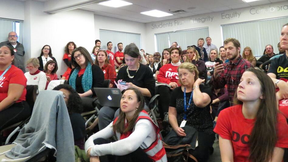 Denver Public School teachers gather in the district's bargaining room on Thursday, Jan. 17. (Jenny Brundin/CPR News )