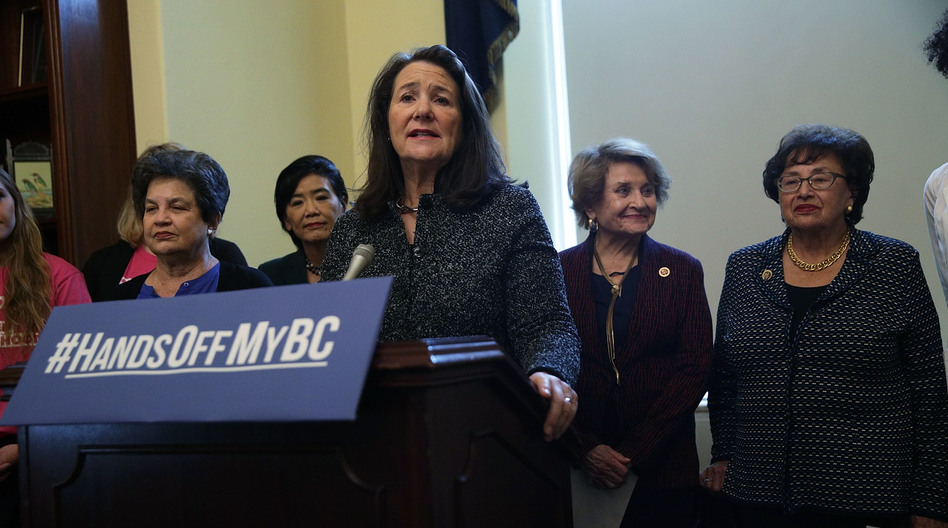 At an October news conference, the Congressional Pro-Choice Caucus called on President Trump to reverse the administration's moves to limit women's access to birth control. Rep. Diana DeGette, D-Colo., spoke at the lectern during the event on Capitol Hill. (Alex Wong/Getty Images)