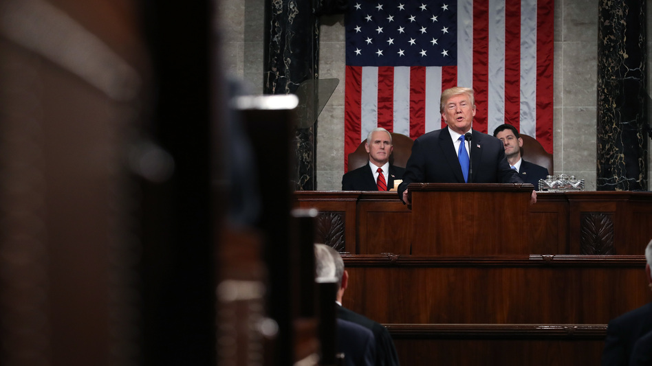 President Trump delivers his first State of the Union address on Jan. 30, 2018, in the House Chamber of the U.S. Capitol. The White House is moving forward with plans for this year's speech on Jan. 29, but it's unclear whether House Speaker Nancy Pelosi will agree to it amid the partial government shutdown.