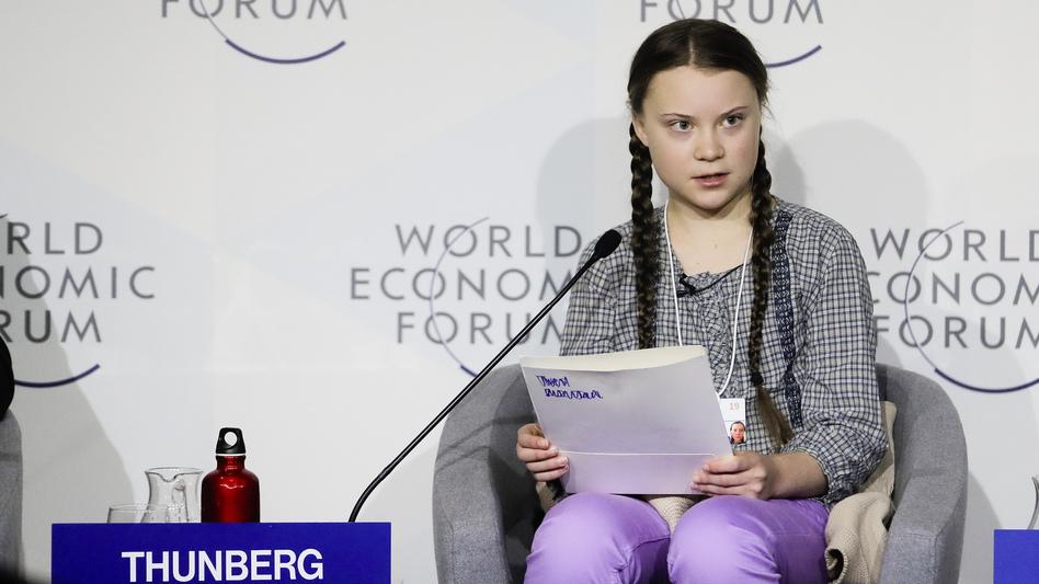 Climate activist Greta Thunberg delivers a speech at the World Economic Forum in Davos, Switzerland. (Markus Schreiber/AP)