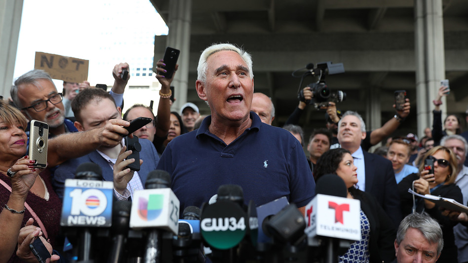 Roger Stone speaks to the media after leaving the federal courthouse Friday in Fort Lauderdale, Fla. (Joe Raedle/Getty Images)